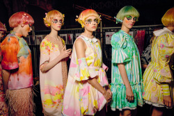 herekitty:  Romance Was Born's 'Mushroom Magic' collection shot backstage at Mercedez Benz Australian Fashion Week 2013.