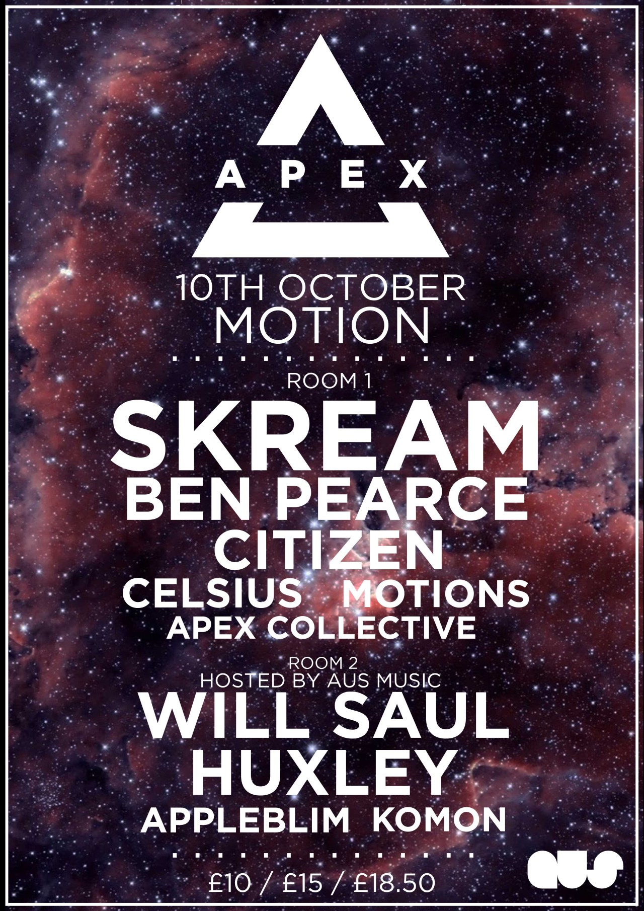 Nearly a 1000 tickets sold already for our In:Motion presents Apex w/ Skream, Ben Pearce, Huxley & more, this will sell out before so ensure you don't miss out!Final release tickets - https://www.eventbrite.co.uk/e/inmotion-presents-apex-tickets-12428561161