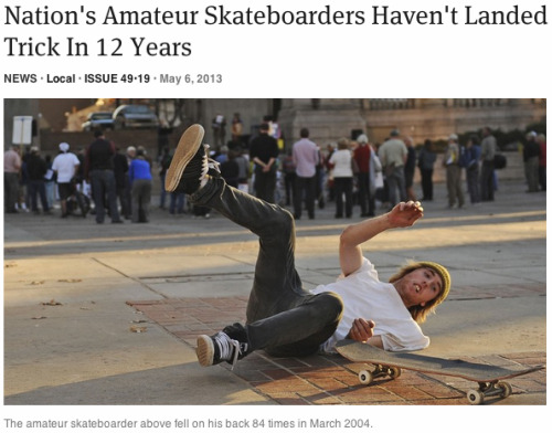 theonion:  Nation's Amateur Skateboarders Haven't Landed Trick In 12 Years | Full Report