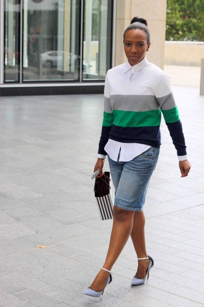 blackfashion:  Shirt: Ann Taylor | Sweater: GAP  | Bermuda Shorts: Levi's | Shoes: Aldo