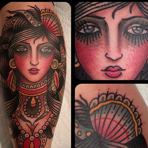 "Shes all done! Thank you @matthew_houston  for my lovely ""Queen of the Sea"" leg piece. Love it!!!! (at Gastown Tattoo Parlour)"