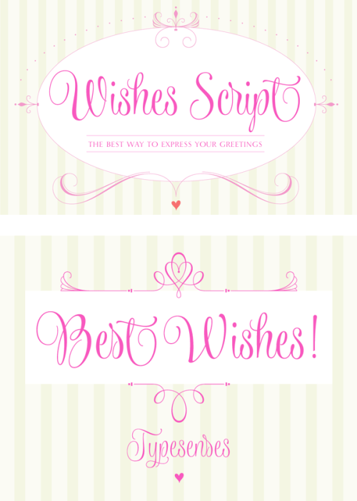 Wishes Script - Greetings Typeface Wishes Script is a calligraphy greetings type family designed by Sabrina Mariela Lopez (Font Publisher: Typesenses). This gorgeous typeface makes your greetings, wedding or birthday invitations more beautiful. Wishes Script includes a lot of OpenType features and it's packed with many frames, ribbons, ornaments, swashes, ligatures and alternates to create a great design. Wishes Script's style of flowing curves works great in small and big formats, due to its Display and Text styles. The type family includes more than 990 glyphs and a set of 197 ornaments. The Wishes Script type family is available on MyFonts.com More about the Wishes Script font family on WE AND THE COLORWATC//Facebook//Twitter//Google+//Pinterest