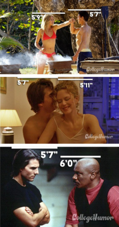 "collegehumor:  7 Pictures Of Tom Cruise Being Tall We're hoping he reaches 6'3"" soon. We could use another big guy on the varsity basketball squad."