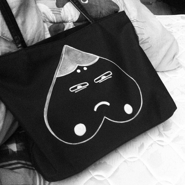 New tote with new friend : ) #diy #tote #illustration
