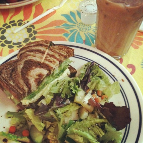 Egg salad sandwich, mixed greens salad, and snickerdoodle iced coffee (at Cafe 905)