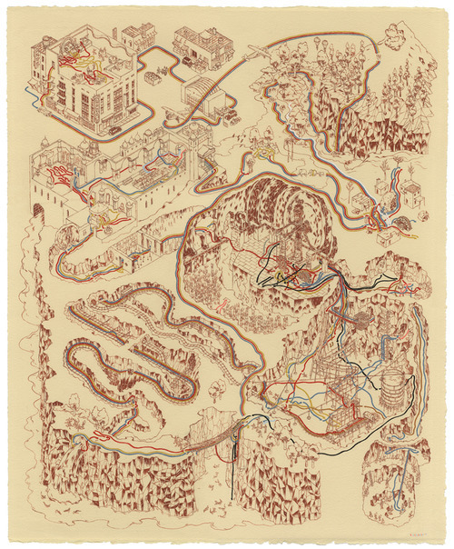 "supersonicelectronic:   Andrew DeGraff. Movie Map Illustrations by Andrew DeGraff.  ""Indiana Jones and the Temple of Doom"" is above, check out his maps of other great movies below: Read More   Every now an then you see an image and just think, ""god dammit I wish I thought of that."" This guy was one of my professors back at Pratt! He painted All the Indiana Jones movies and Star Wars movies as maps, and drew the path of all the characters throughout the entire movie. Check out his work and Supersonic Electronic if you don't already. This was also on Geekologie the other day. As they said, you'll notice Drew didn't paint either the Star Wars prequels or Crystal Skull. That's because those movies are ass."