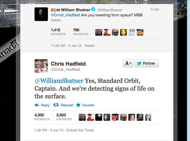 laughingsquid:  William Shatner Tweeted an Astronaut Living in Space & He Replied