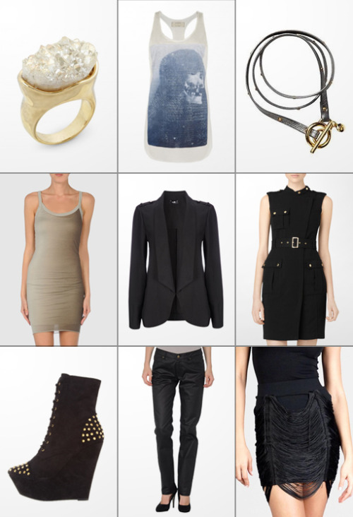 The Haute List :: $75 & Under Druzy Stone Ring :: AllSaints Shibori Edge Top :: Leather Stud Bracelet Rick Owens Ombre Dress :: Military Style Jacket :: Calvin Klein Moto Dress Fahrenheit Ankle Boot :: McQ Denim Pants :: Fringe Drape Skirt