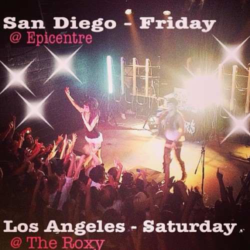 Last 2 shows of our #tonighttour this weekend in CALIFORNIA! Come party with us FRIDAY in SAN DIEGO @ Epicentre && SATURDAY in LA @ The Roxy! 🎤🎀💋🍻🚌 @themillionaires @tracecyrussmhp @lancifermusic #millionaires #melissamarie #allisongreen #tour #epicentre #sandiego #roxy #hollywood #tourlife