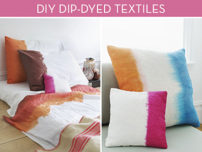 niftyncrafty:  DIY Colourful Dip Dyed Bed Linen | Curbly