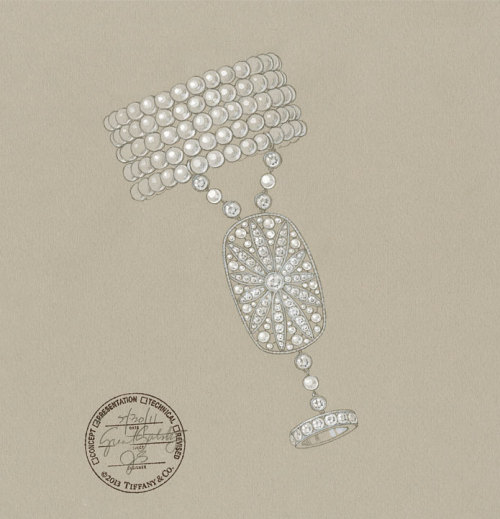 tiffanyandco:  A sketch of a pearl-and-diamond hand ornament from The Great Gatsby Collection.