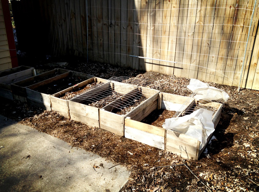 Finished building out the other two stalls on my raised bed garden last Sunday. Next step is to fill the entire thing to the brim with soil and install a soaker hose. Watering my garden becomes the biggest hassle ( and threat ) as the season drags on. This year, planning as much as I possibly can around soaker hoses is the name of the game.