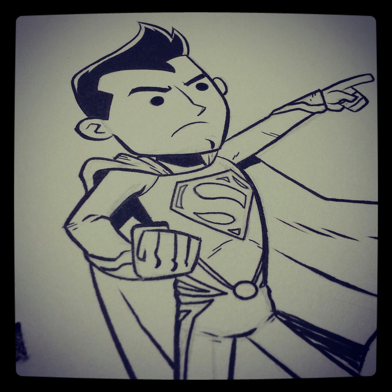 "Here I have drawn ""Man of Steel"" Superman."