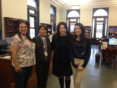NYPL's Hunts Point Library received a surprise visit today from Supreme Court Justice Sonia Sotomayor! Justice Sotomayor was visiting her hometown and decided to pay a visit to her old library stomping grounds in the Bronx. The staff from the Library, along with one of our patrons, were pleased to welcome her back to the branch!