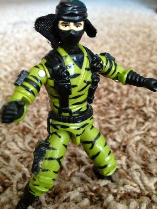 "This is another one of those unfortunate Ninja Force figures added to Hasbro's G.I. Joe: A Real American Hero series in the early 90s. The character's name is Nunchuck, but that's not really important. Because what's really important is the figure's ""Real Ninja Action"" — in this case the ""Samurai Smash"" movement of Nunchuck's right arm. If you lift it up, it swings down. It's that simple. Simple, and, as I've said, aggravating. These spring-action movements made it difficult for the figures to hold accessories and limited their play value. Ninja Force would continue for a couple more years, until the original Hasbro line met its end in 1994. The ninjas are not missed."