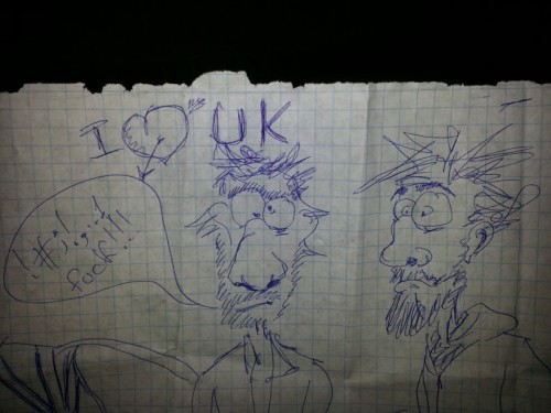 Drawn by a man we were introduced to before leaving Ukraine, I dunno who is who though haha