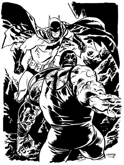 deantrippe:  Batman vs. Bane, by Chris Samnee