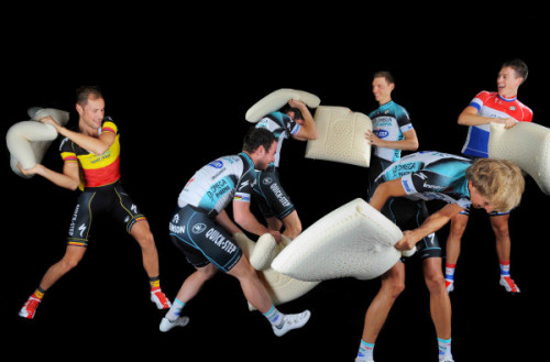 It's the annual #opqs pillow fight! My favorite time of year. (via Start of a new 2013 road cycling season and all team OPQS rid… on Twitpic)