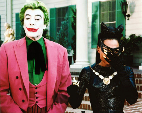 Cesar Romero and Eartha Kitt as The Joker and Catwoman on the Batman TV series, 1967