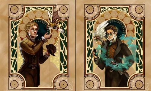gunmetal-skies:  OMFG Linnpuzzle drew Aziraphale and Crowley as Steampunk characters and NO ONE TOLD ME?! *flails* (How do you create a link in the mobile app?! Will edit with a proper link later, but for now her DA page is here: linnpuzzle.deviantart.com)  I'm also on tumblr.  Hi. :)