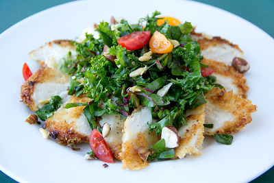 Parmesan Crusted Chicken with Kale and Swiss Chard with recipe (link)