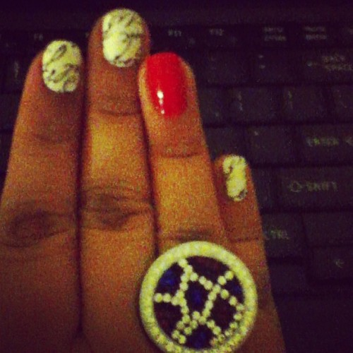 Love letter nails and a ring courtesy of Victor :) I missed work <3