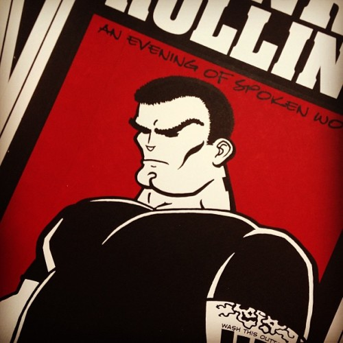 Close-up shot of a Henry Rollins screen printed gig poster I designed and illustrated back in 1998. Found a few of these the other night while straightening up. #gigposter #rollins #screenprint #illustration #handprinted #crosshair #celebritytheatre