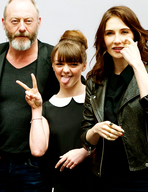 Maisie Williams, Liam Cunningham, and Carice Van Houten at the Game of Thrones Exhibition in Amsterdam