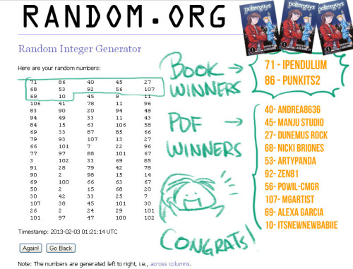 Polterguys MangaMag contest winners! Thank you for participating. :D