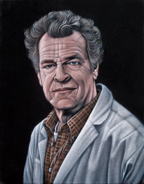"Dr. Walter Bishop 11"" x 14"" acrylic on velvetSold Part of the group show ""The Official Bad Robot Experience"" presented  by Gallery1988 (West), 7308 Melrose Ave Los Angeles, CA.  Show runs April 26th through May 18, 2013."