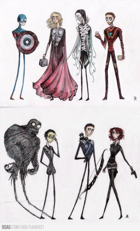 amaleia-rose:  Tim Burton-styled Avengers. Omg.  Willowy Thor is so lovely! I love the earnest look Cap's face. Everything about this is great.