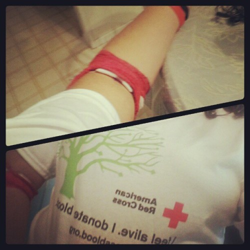 4th time donating blood!!felt so sick afterwards,but its worth it #helpsavelives #ifeelalive #redcross #Opositive #takecare #blood #useitwisely #passedout