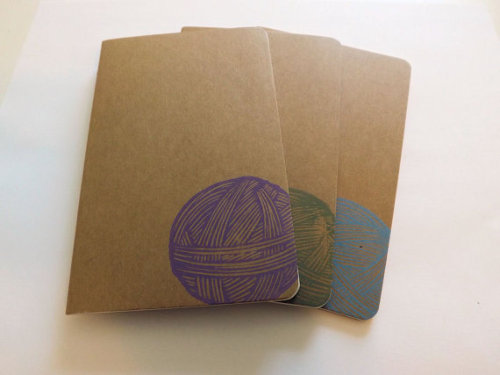 Hand-stamped Yarn Notebooks
