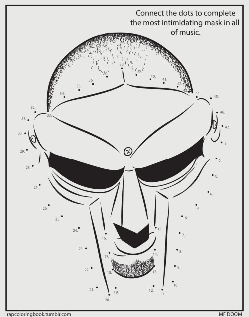 rapcoloringbook:  Click here to download the MF DOOM activity page. Print it out. Complete the activity. Color it. Listen to this while you do so.  Rap Coloring Book on Twitter
