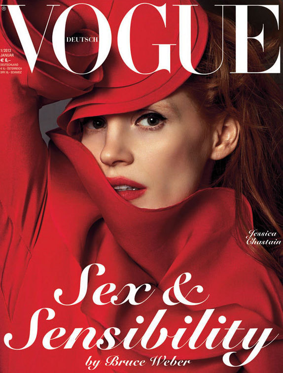 Jessica Chastain by Bruce Weber for Vogue Germany January 2013.
