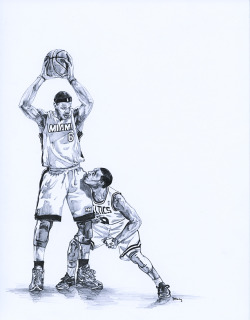 LeBron / Rondo, pencil on paper1 of 2 pieces I of mine in the In The Paint Boston exhibit at Voltage Coffee and Art.