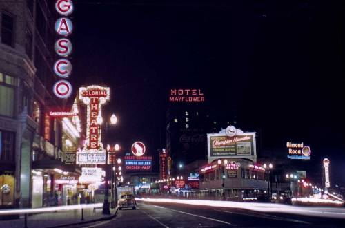 memoriastoica:  Looking north on 4th Avenue across Pike Street. Circa 1949.