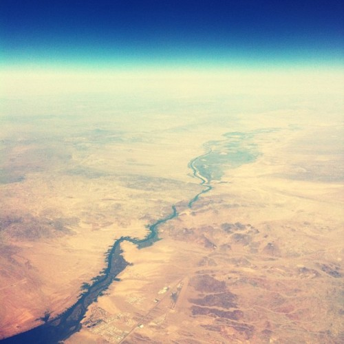 // river in the wastelands // #cali #river #desert #flight #blue #sky  (at   ✈)