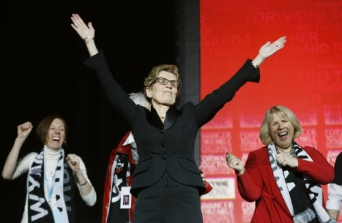 "Canada: Ontario Elects Kathleen Wynne, First Out Lesbian Elected Premier In Nation's History Joe.My.God. reports:  Chris Geidner has the big news at Buzzfeed:  With 1,150 votes to Sandra Pupatello's 866 votes on the third ballot at the Ontario Liberal leadership convention on Saturday, Kathleen Wynne was elected to lead the party and becomes Ontario's first female premier — and Canada's first out LGBT premier. Wynne, 59, is married to Jane Rounthwaite, and the party's new leader said she believed her sexual orientation would not be an issue in the race or going forward. ""The province has changed, our party has changed,"" she said earlier in the balloting. ""I do not believe that the people of Ontario … hold that prejudice in their hearts."" After the third balloting, Wynne said, ""It is a remarkable night for all of us."" Ontario is by far Canada's most populous province. Provincial premiers are the US equivalent of a state governor.  There has not yet been an openly gay state governor in America, unless you count New Jersey's Jim McGreevey, who resigned halfway through his term in 2004 after confessing to cheating on his wife with a man."