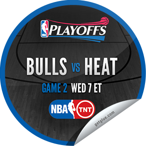I just unlocked the 2013 NBA Playoffs: Bulls vs. Heat #2 sticker on GetGlue                      2011 others have also unlocked the 2013 NBA Playoffs: Bulls vs. Heat #2 sticker on GetGlue.com                  You are now watching game 2 of Chicago Bulls vs. Miami Heat in the 2013 NBA Playoffs on TNT. Thank you for tuning in and enjoy.  Share this one proudly. It's from our friends at Turner Sports.