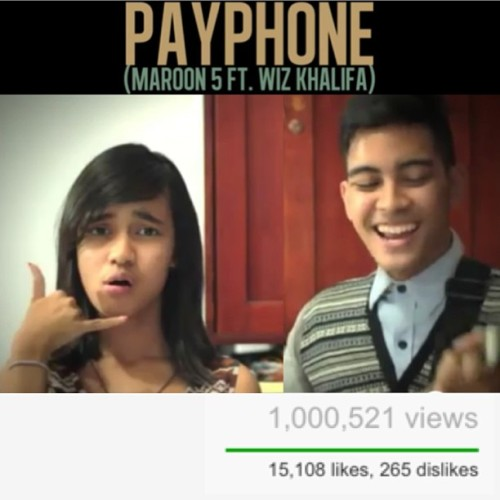 Payphone cover by me & @tapiheruaudrey reach 1 million today! Thanks for all of your support! Love u guys!