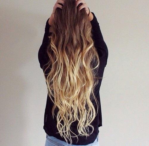 dream hair goals ombre hair long hair blonde brunette fashion girl beautiful hairstyle waves