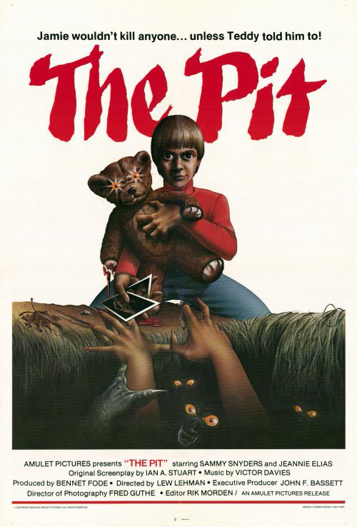 """#horror - #HorrorHistory - #ThePit -  10/23/1981: The Pit was released in theaters Jamie wouldn't kill anyone… unless Teddy told him to! Twelve-year-old Jamie (Sammy Snyders, Tom Sawyer of TV's """"Huckleberry Finn and His Friends"""") is one creepy kid… he has a perverse obsession with sex, his only friend is an evil teddy bear, and he's the only one who knows about the hole in the forest where he feeds raw meat to a ravenous pack of mutant troglodytes. Jamie will teach everyone a lesson: the kids who teased and bullied him, the mean old lady down the street, even his pretty new babysitter. Soon they - and his entire town - will face the flesh-eating horror of The Pit! The one and only directorial effort by Lew Lehman with a script by documentarian Ian A. Stuart and featuring a wonderful cast that includes Jeannie Elias (Nomads), Sonja Smith (Videodrome) and Richard Alden (The Sadist). BUY IT NOW! Blu-ray DVD #horror#Horror History#ad"""