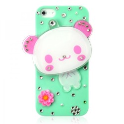 Cute Bear Crystal Mirror Phone Case For iPhone 5
