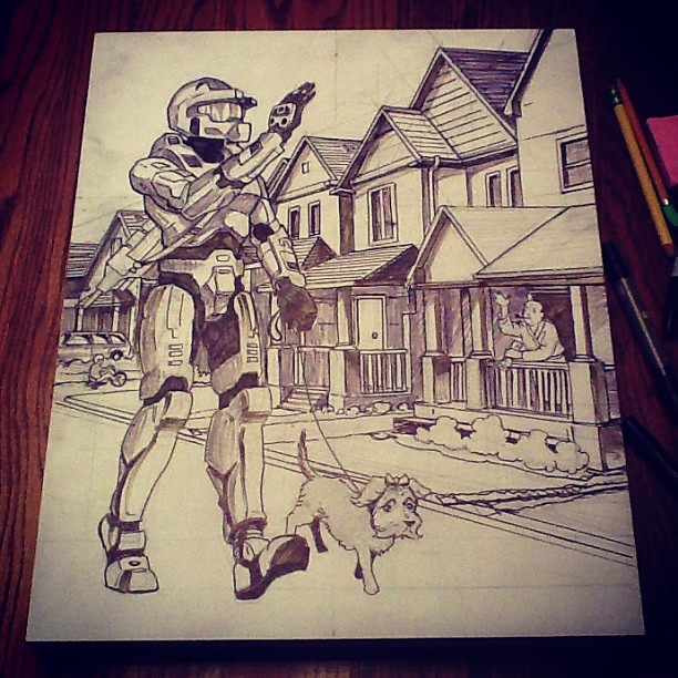 Working things out. #drawing #presspaws #halo #dog #masterchief