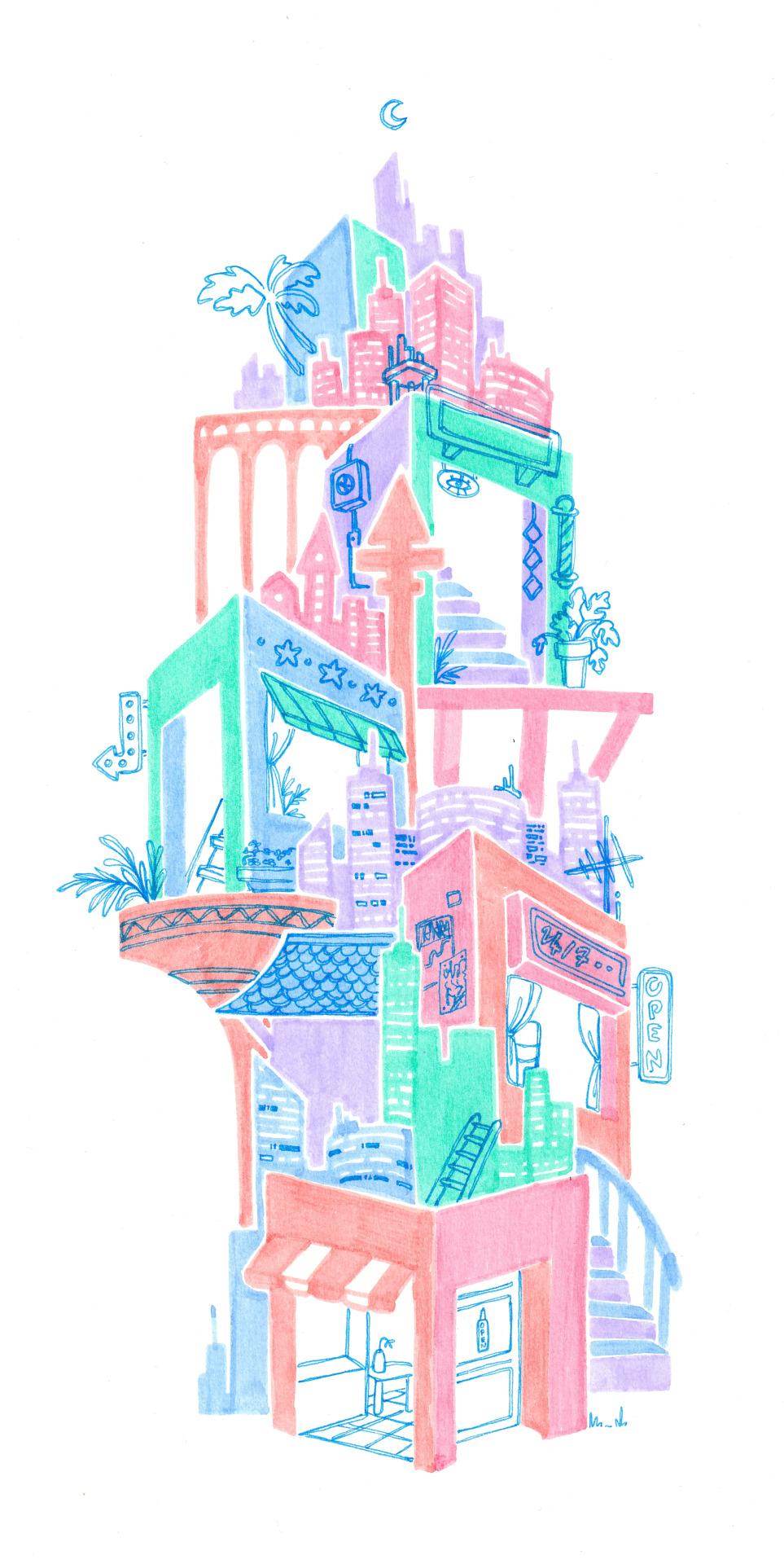 🌴 🌙 🦩 cityscape   🦩 🌙 🌴 #artists on tumblr #pastel art#pastel aesthetic#lovecore#vaporwave#neon signs#city#building#skyline#colorblock #fine liner art #plants#softcore#kawaii