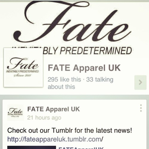 Like us on Facebook @FateApparelUk