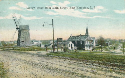 "Vintage postcard of ""Pantigo Road from Main Street, East Hampton, L.I."""