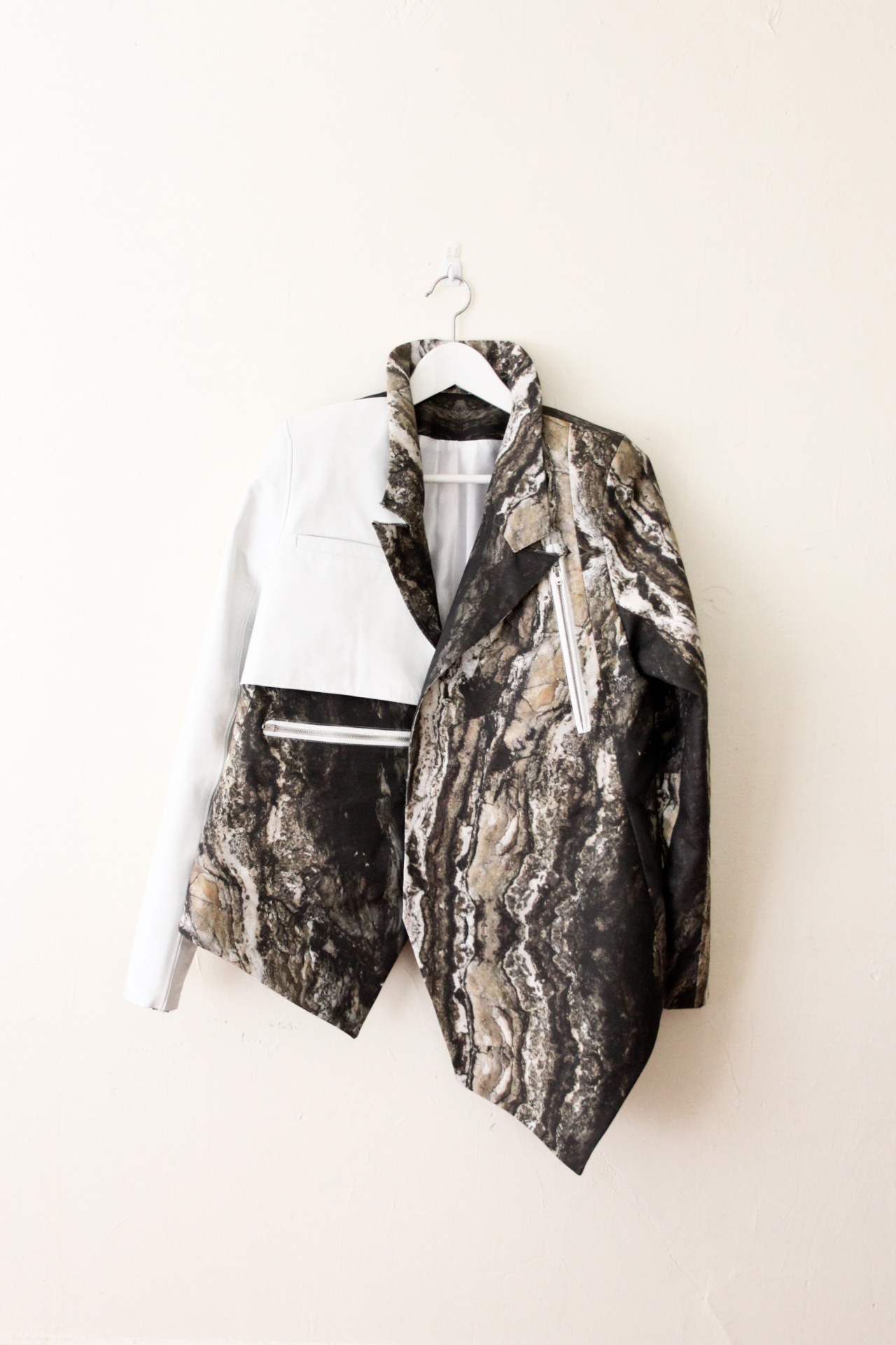 "peterdonyc:  ""JUXTAPOSITION"" Part 9: Printed oversized jacket with leather sleeve Cotton canvas / Leather"