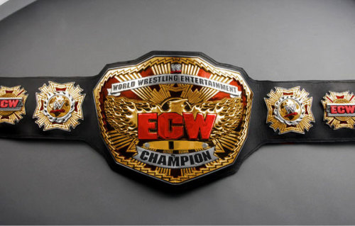 droptoehold:  The ECW Championship That Never Was Personally, I was a fan of the big silver belt. The old ECW title was an abomination and the big gold belt is perhaps the best looking belt ever made, so why not take after it when rebooting ECW? I really liked the firey eagle and how it was incorporated into the intro of the show. Maybe it's a good thing they stuck with the silver before abandoning the ECW brand and title altogether (along with final champion Ezekiel Jackson), but I like this colorful red and gold fan design.